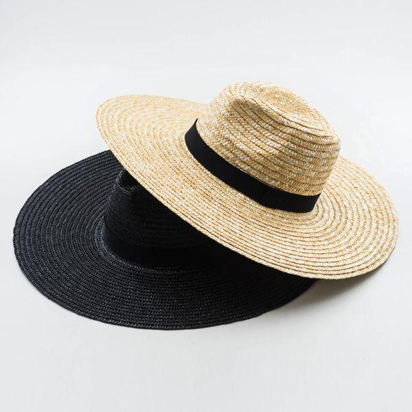 Muchique Chapeau de Soleil X Large Paille De Blé À Bord De Coton Panama Chapeau Fedora D'été Chapeaux De Paille D'été Pour Femmes Floppy Avec Arc À Ruban