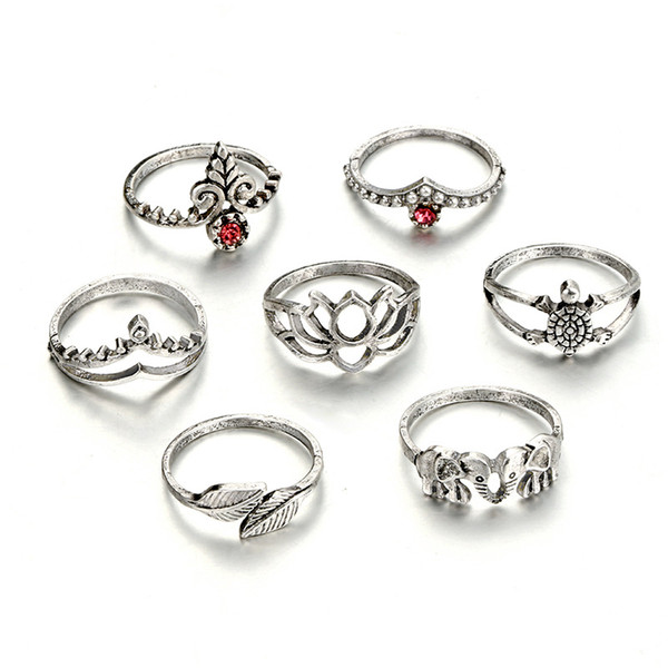 12 Sets/Lot Vintage Finger Ring For Women Men Double Leaf Tortoise Hollow Crown Knuckle Ring Retro Midi Jewelry Accessories