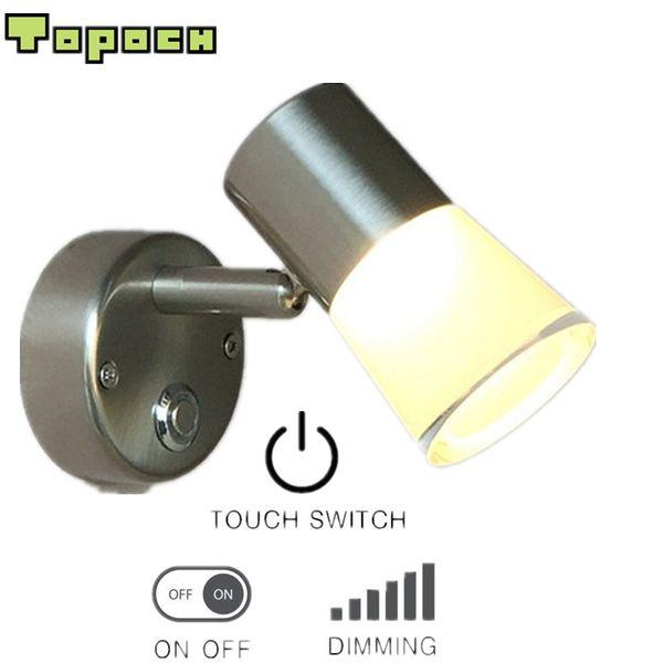 TopocH 12V-Wandleuchten drehen Kipphebel für RV-Boots-Nickel-Finish Touch-Schalter Ein / Aus / Dimmen Aluminium + Acrylgehäuse LED 3W 200LM 120Degree Beam