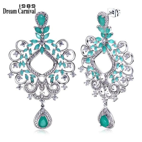 DreamCarnival 1989 Marquise Cut Blue Zircon White CZ Pendientes Largos Jewelry Wholesales Gifts Drop Earrings for Women E7207 C18111901