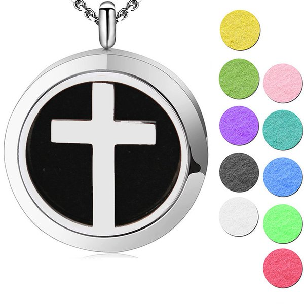 1pcs magnet 30mm classic cross Aromatherapy Essential Oil surgical Stainless Steel Perfume Diffuser Locket Necklace with chain and pads