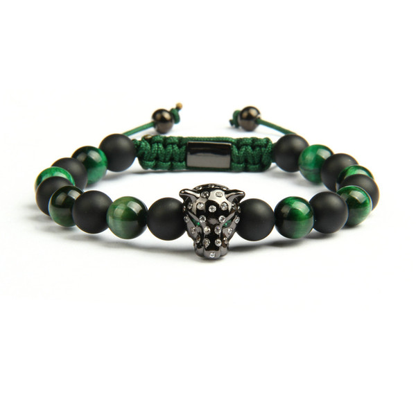 New 1PCS Hot Sale Lover Jewelry Natural Stone Beads Micro Paved Leopard Macrame Bracelets Green For Men Pink For Women