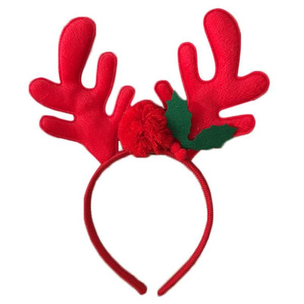 Crianças de Natal 3D Antlers Renas Hair Hoop Pompom Bola Folha Partido Headband