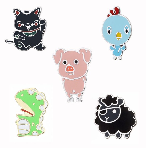 Cute Cat Pig Bird Small Animal Hard Enamel Brooches Pins Lapel Pins For Children Clothes Backpack Bag Hat Jacket Badge Wholesale Drop Ship
