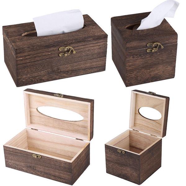 Tissue Box High-grade Vintage Burned Wooden Drawer Box Bar Restaurant Chinese Beautiful Napkin Holder Case Rectangle Square