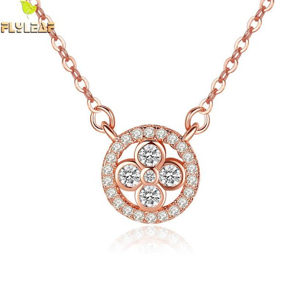 Flyleaf Rose Gold Zircon Round Flower Necklaces & Pendants For Women 2018 New Trend 925 Sterling Silver Fasion Jewellery