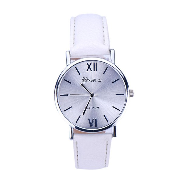 Fashion erkek saat Geneva Simple Style Quartz Watch Women Girl Leather Band Wrist Bracelet Watches Hot sale Dropship Relogio #D