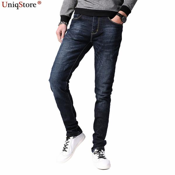 Vogue Denim Algodão Quatro Estações Men Jeans Comprimento Total Fino Reta Macio Conforto Estilo Casual Zip Botão de Bolso Com Zíper Voar