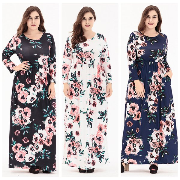 Long Sleeve Plus Size Maxi Dresses For Women Floral Print Long Dress With  Pocket Design In Spring Fall Shopping For A Dress Blue Dress Sale From ...