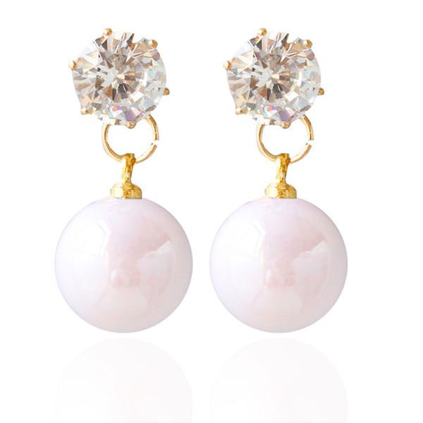 Orecchini con pietre 2018 coreano moda orecchino costume negozi di gioielli orecchini di perle per le ragazze all'ingrosso mix di colori idee regalo 10pairs