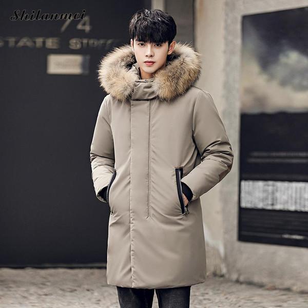 2018 Korea Style Winter Long Windproof Coat Thicken White Duck Down Coat Men Fashion Warm Outwear Doudoune Homme Plus Size