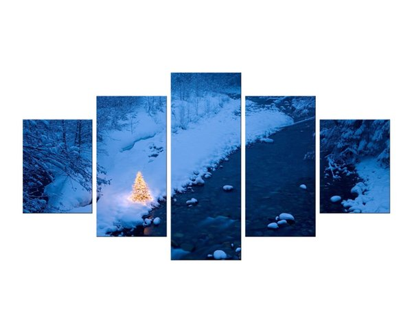 5 pezzi Snowy Mountains Cielo nuvoloso Neve Mountain Panel Paintings Modern Landscape Pictures Foto stampe su tela incorniciata