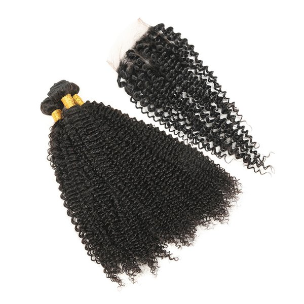 3 Bundles Indian Curly Hair With Closure Virgin Hair Kinky Curly Weave Indian Wavy Curly Hair Natural Black Free Shipping