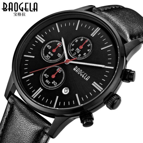 mens business watches genuine leather quartz man wristwatches Baogela  watches waterproof Multifunction male clocks