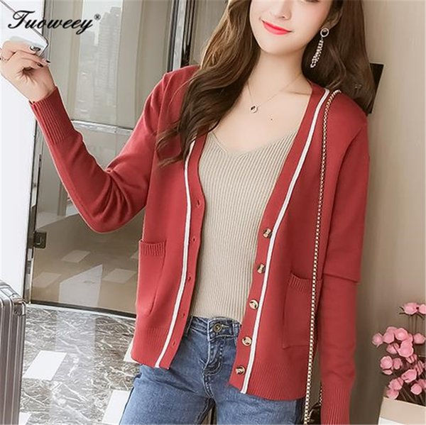 New spring autumn 2018 female knit cardigan sweater coat striped button female a little shawl knitted jacket 6 color