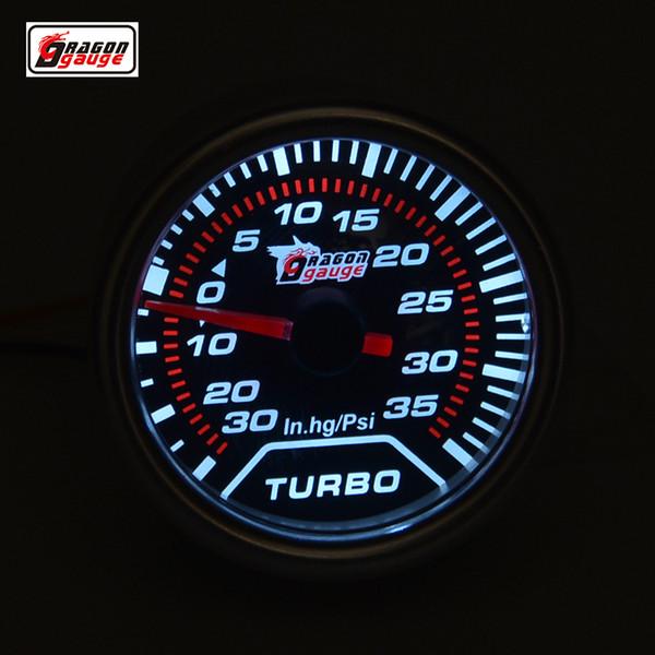 Medidor de dragón 52mm Luz de fondo blanca Auto Turbo Boost Gauge Medidor de presión Medidor de vacío