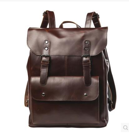 Leisure crazy horse leather men backpack vintage locomotives contracted clamshell students travel bag mens brand package Retro Backpack