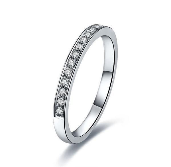 Perfect Band ring SONA Diamond Diamond Engagement Wedding Ring Abbinabile a qualsiasi anello di stile principale Fine argento placcato oro bianco 18 carati