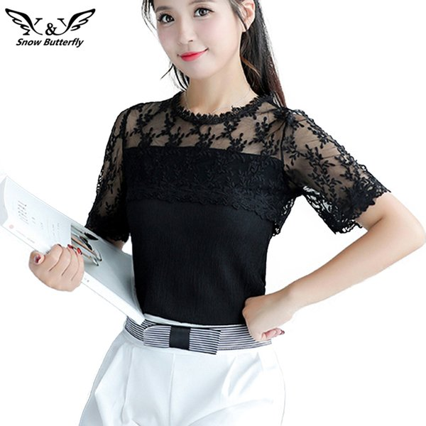 Fashion New 2018 Casual Summer Shirt Women Blouse Tops O-Neck Short Chiffon Lace Hollow Out Blusas Female Blusa Top Large Size