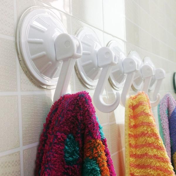 Wholesale- 2 pcs Round Shape Simpe Sucker Style Hook & Rails for Kitchen Bathroom Towel Key Clothing Hanger Home Garden Garage Hooks