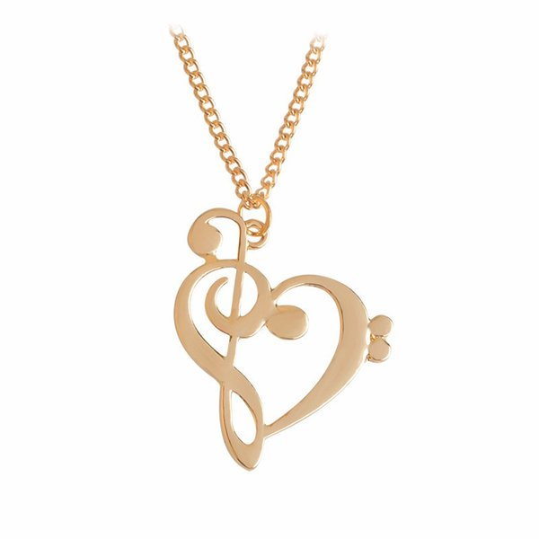 Wholesale Music Note Symbol Necklace Simple Hollow Heart Shaped