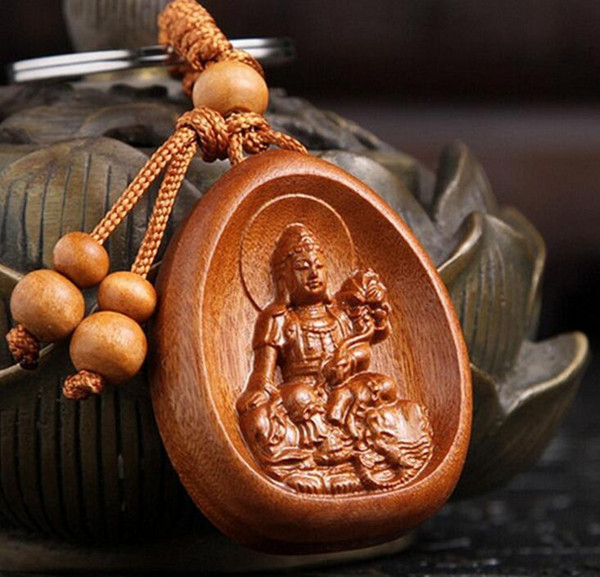 1 pc High-grade rosewood carving key buckle Lucky Buddha Keychain car key pendant Wholesale
