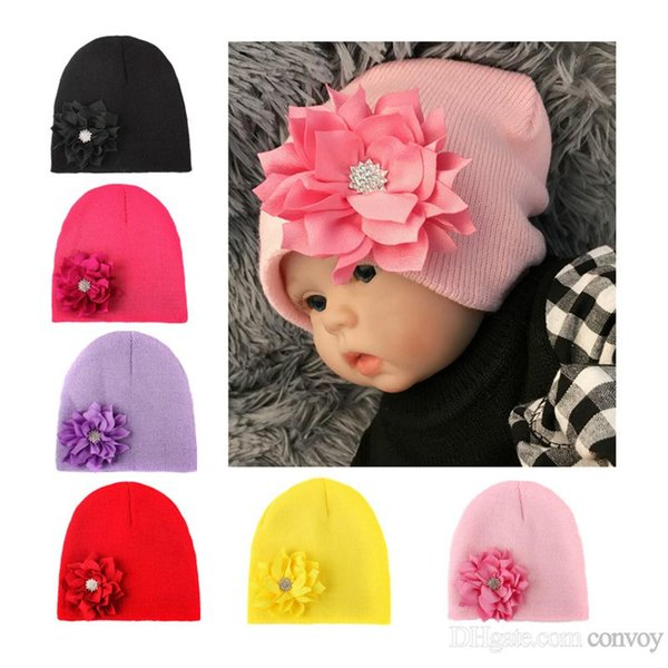 New Baby Lotus Beanie Knitted Crochet Hat Handmade Cap ear warmer For Newborn Baby Toddlers Girls Winter Warm Cute Handmade Cap BH77