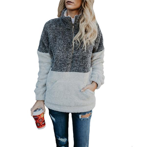2018 Outono Inverno Mulheres Hoodies Moletons Casual Patchwork de Lã Com Capuz Cor Bloco Tops Zipper Gola Pullover Jumper