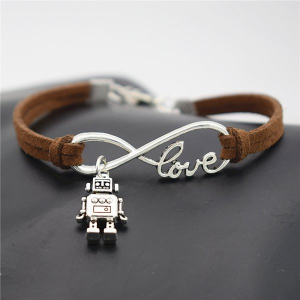 Punk Dark Brown Leather Rope Bracelet Silver Infinity Love 3D Robot Pendant Charm Bangles for Women Men Fashion Jewelry Best Christmas Gifts