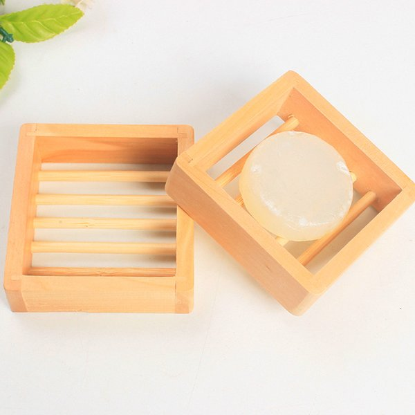 New Wooden Natural Bamboo Soap Dish Wooden Soap Tray Holder Storage Soap Rack Plate Box Container for Bath Shower Plate Bathroom LX0060