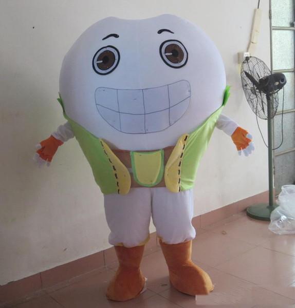 2018 Diskontfabrikverkauf das weiße Zahnzahn-Maskottchenkostüm des Kopfes, damit Erwachsener für Verkauf trägt
