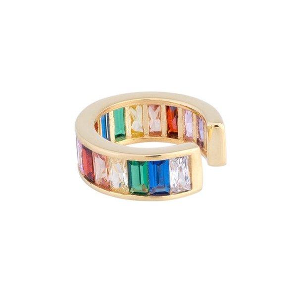 1 peça baguette rainbow cz clipe manguito brinco banhado a ouro de alta qualidade AAA cubic zirconia não piercing ouvido cuff moda jóias