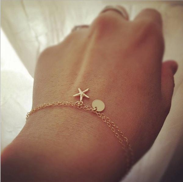 2018 New double Chain Starfish pendant charm bracelet Bohemia Alloy All-match Hand Made bracelet Free Shipping