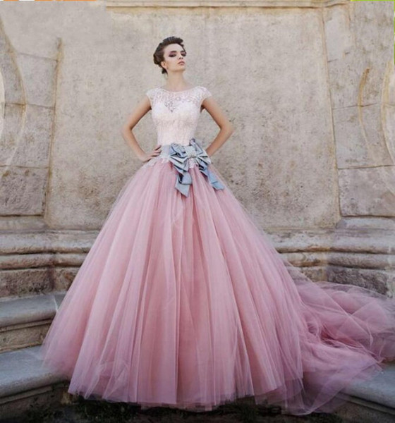 2018 New Pink Ball Gown Prom Dresses Beaded Bodice Cap Sleeves Satin Tulle Ball Gown Sweet Sixteen Dresses Masquerade Ball Gowns