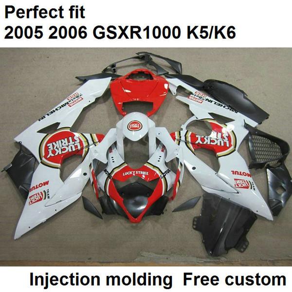 Aftermarket body parts fairings for Suzuki GSXR1000 2005 2006 white red injection mold fairing kit GSXR1000 05 06 ZX10