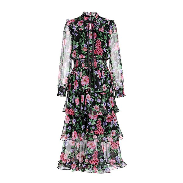 1117 2018 Runway Dress Free Shipping Crew Neck A Line Prom Fashion Flora Print Womens Clothes Brand Same Style MY