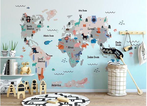 3d Wallpaper Custom Photo Mural Hand Drawn Cartoon World Animal Map  Children\'S Room Home Improvement Living Room Wallpaper For Walls 3 D Canada  2019 ...
