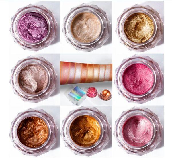 Pudaier Bronzer Metallic illiuminador Highlighter Powder Glitter Liquid Jelly Gel Cream Body Shimmer Makeup 8 colors eyeshadow palette