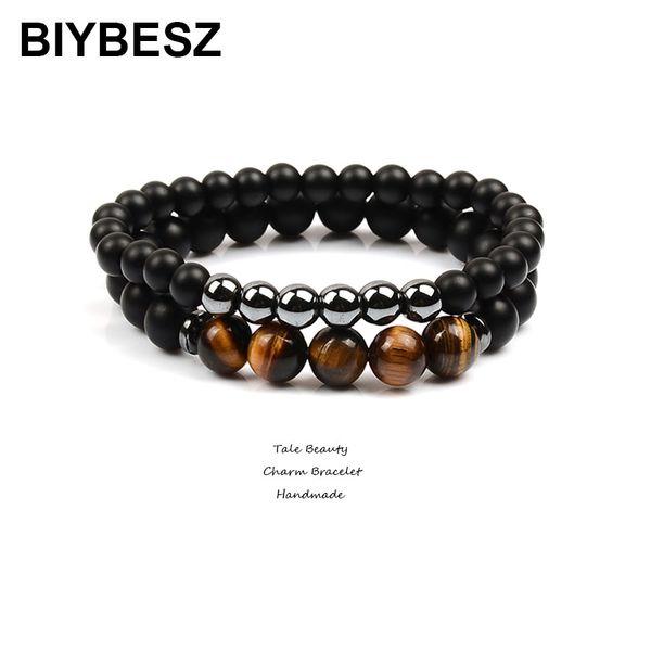 2Pcs/lo Lucky Gem Fashion Natural Dull Polish Matte Onyx Agates Black Mantra Prayer Beads Pulseras Masculina Bracelet for Friend