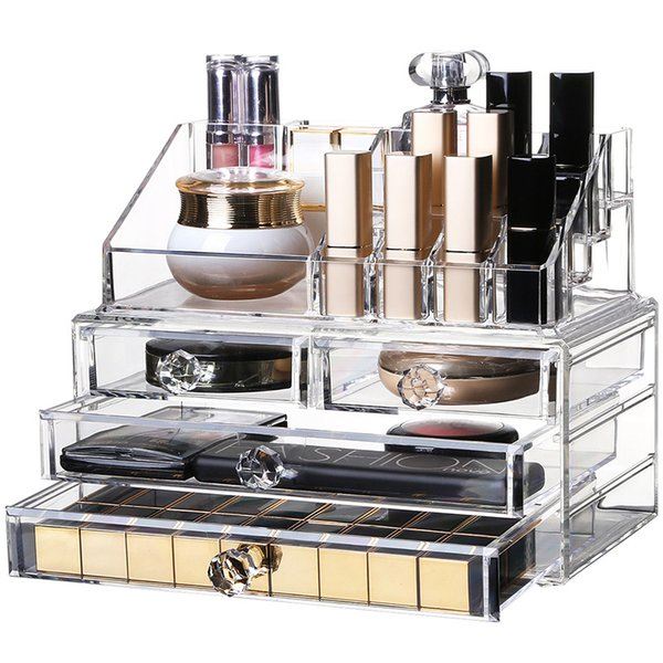 Home Desktop Acrylic Storage Box Transparent Makeup Lipstick nail Polish Tattoos Tool Organizer Cosmetic jewelry Storage Drawer