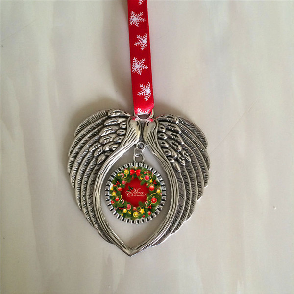 top popular sublimation christmas ornament decorations angel wings shape blank hot transfer printing consumables supplies new style wholesales 2019