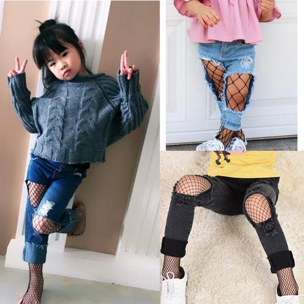 Girl Children Hosiery Fishnet Elastic Thigh High Stockings Pantyhose Polyester Over 11Y girls leggings Black White Skin Mesh Socks