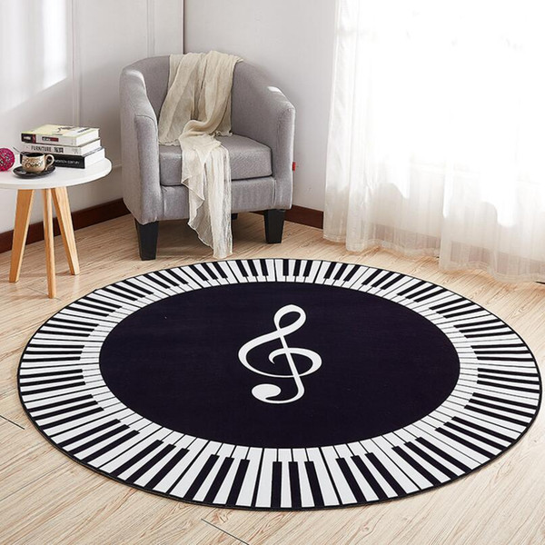 Anti-skid ins Nordic Modern Notes print Drawing Room Floor Round Carpet Living Room Rug Door Entrance Mat Computer chair foot pad Washable