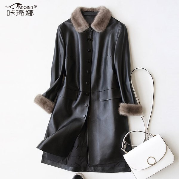 Genuine Leather Jacket Real Mink Fur Collar Long Coat Women Clothes 2018 Winter Duck Down Jackets Parka Chaqueta Mujer ZL454