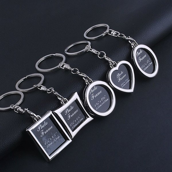 Cute DIY Insert Photo Picture Frame For Women Men Fashion Mini Heart Round Styles Keyring Car Keychain Key Jewelry Loves Gift
