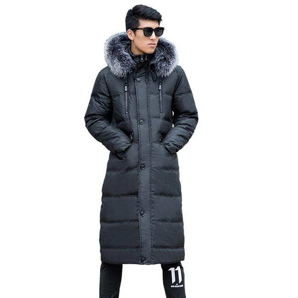 Men's Winter Fashion Coat Hooded Fur Collar Warm jacket Men's Super long size L-14XL Over the Knee jacket 190kg clothing