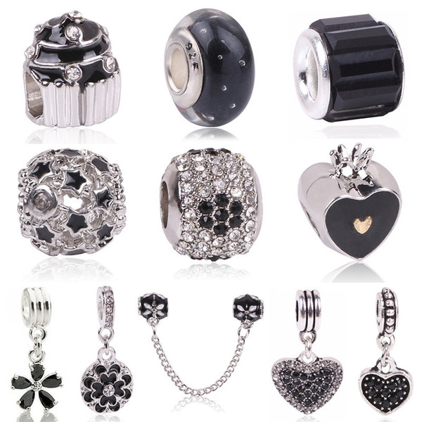 Couqcy Haute Qualité Fleur Blanche Noir Perles De Verre De Murano Fit Original Argent Charme Bracelet Collier DIY Fabrication de Bijoux