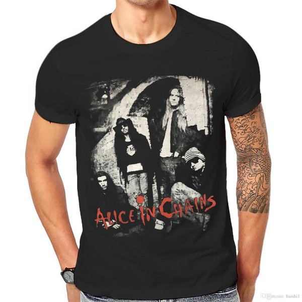 Alice In Chains T Shirt Man Black Graphic Print Hard Rock Band Tee 1-A-181 O-Neck Teenage T-Shirts