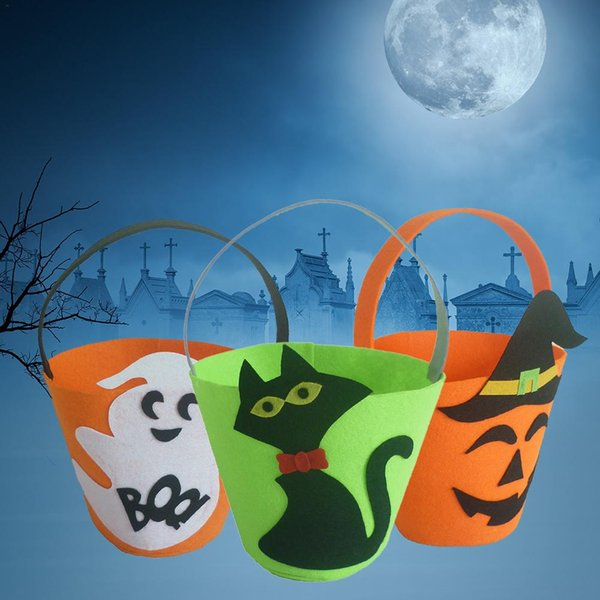 1pc Barrel-shaped Pumpkin / Ghost / Black Cat Halloween Gift Bag Trick or Treat Candy Bags Halloween Party Supplies
