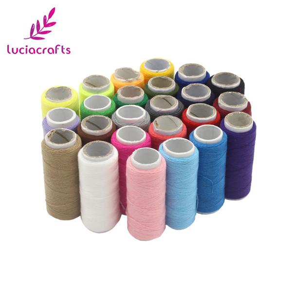 Lucia el sanatları 24 Renkler 1 rulo / lot Nakış Dikiş Iplikleri DIY El Makine Dikiş Ipliği Örme Aksesuarları 033005039